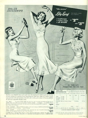 Advertisement for slips shows girls dancing and using an LP as a makeshift tambourine (Seventeen Aug 1949)