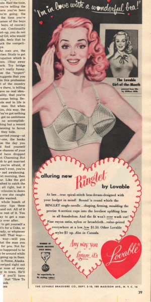 This ad for the Loveable Bra features a paraphrase of a line of a song from the musical South Pacific (Seventeen Oct 1951)
