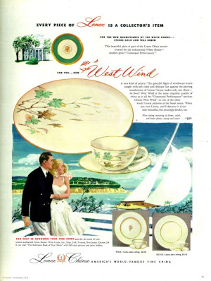 This ad for Lenox china depicts an idealized version of marriage (Seventeen Sept 1954)