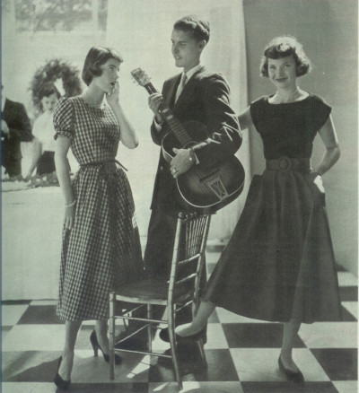 In this photo from the same December 1949 fashion feature, it is significant that the boy, not the girls, is holding the guitar (Seventeen Dec. 1949)