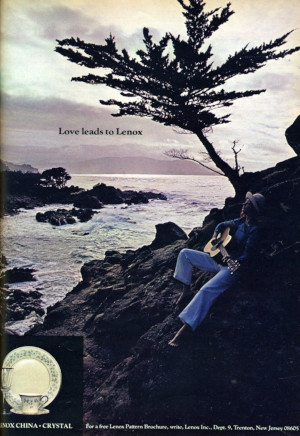 This ad for Lenox China equates guitar playing with a relaxed lifestyle (Seventeen Dec. 1975)