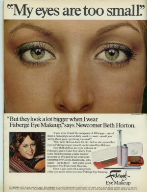 This ad for makeup features a woman as a successful professional musician (Seventeen Nov. 1976)