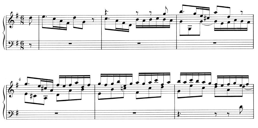 Ex. 3 Bach GM Gigue. mm. 1-6